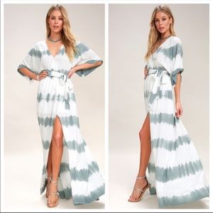 Lulus Tie Dye Wrap Maxi Dress